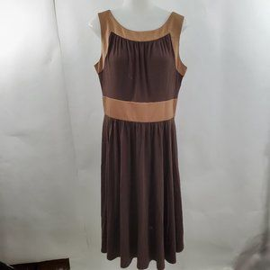 Max and Cleo Dress 12 Brown Beige Satin A-line Sle